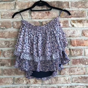 Joie ruffled floral mini skirt